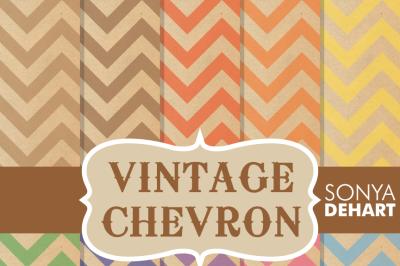Digital Papers Vintage Chevron Patterns
