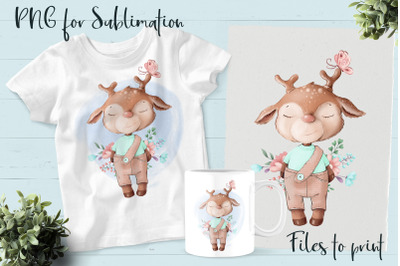 Cute deer sublimation. Design for printing.
