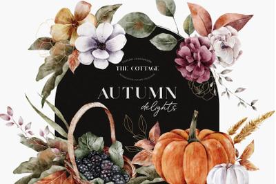 Autumn Watercolor Floral Leaves Compositions PNG
