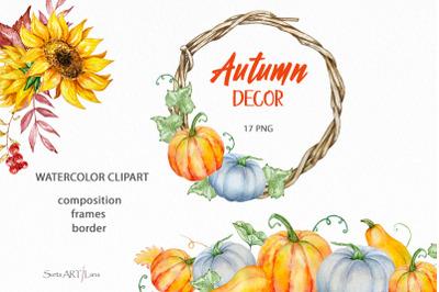 Watercolor Pumpkin Clipart, Autumn Pumpkins composition
