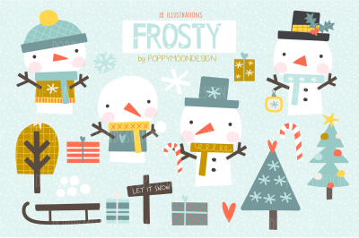 Frosty, snowmen clipart set