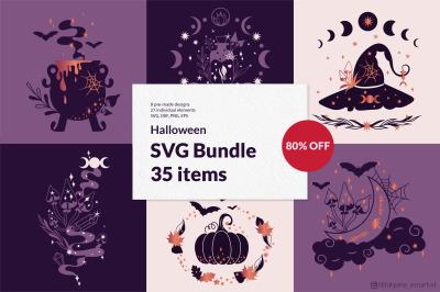 Halloween SVG Bundle, pumpkin svg, witchy svg, moon phase svg