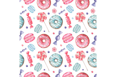 Donut watercolor seamless pattern. Sweets