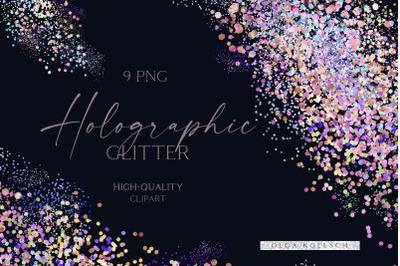 Glitter holographic overlays, Pastel pink falling glitter shapes, Meta
