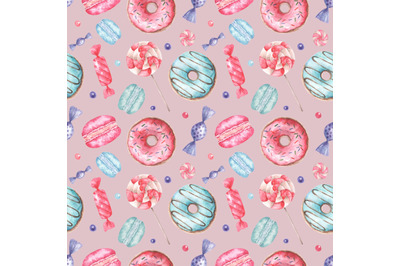 Sweets watercolor seamless pattern. Donut, macaroon, lollipops, candy