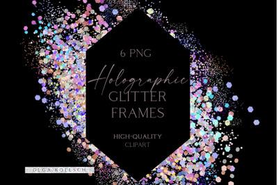 Glitter holographic digital frames, Pastel pink falling glitter border