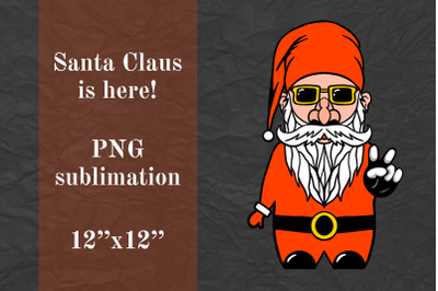 Peace Hand Sign, Gnome Santa Claus, Cool Biker Gnome, sublimation