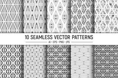 10 seamless triangles vector patterns
