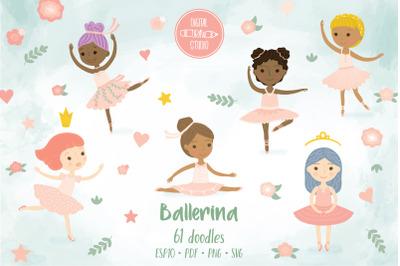Ballerina Dancing, Cute Paper Doll, Pink Tutu, Multi skin tone, Hairdo
