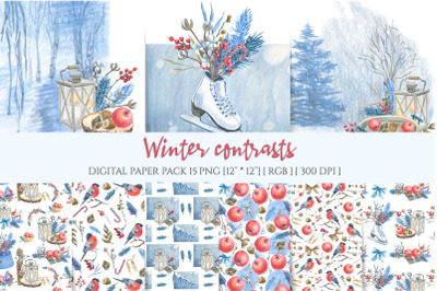 Winter birds seamless pattern. Christmas digital background.