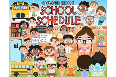 School Schedule Clipart - Lime and Kiwi Designs