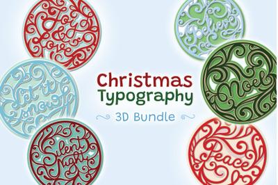 Christmas Typography 3D Bundle - 8 SVG items