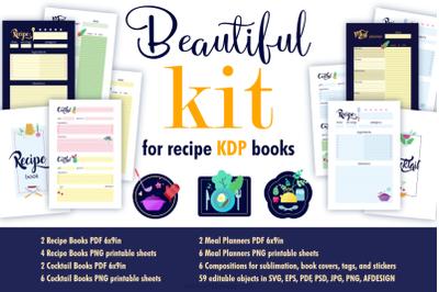 Beautiful kit for recipe KDP books.