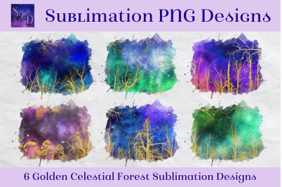 Sublimation Designs - Golden Celestial Forest