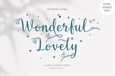 Wonderful Lovely - a Romantic Script Font