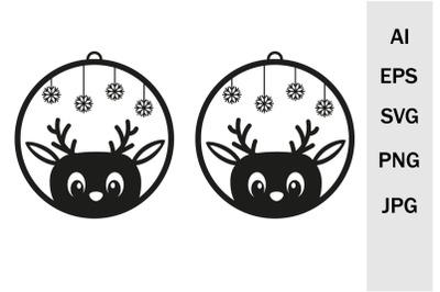 Cute Deer Earrings and Pendant Pattern, SVG Cutting Files