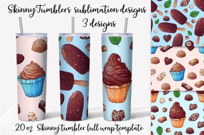 Sweets sublimation design. Skinny tumbler wrap design.