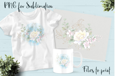 Roses sublimation. Design for printing.