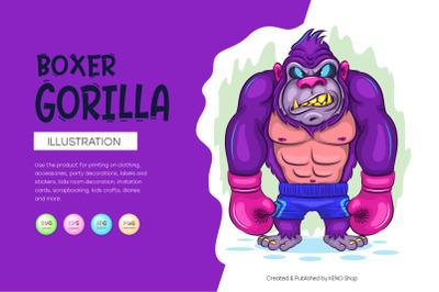 Cartoon Gorilla Boxer.