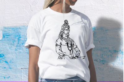 Lord Shiva One Line Drawing, SVG, EPS_ PNG