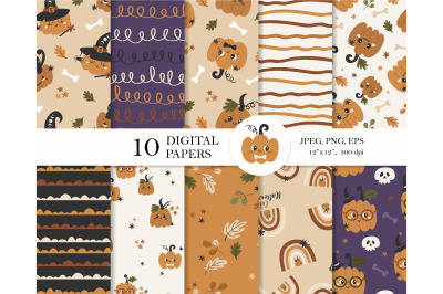 Pumpkin digital paper pack
