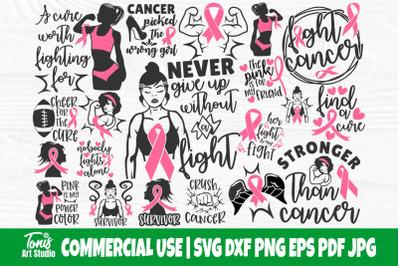 Breast Cancer SVG Bundle, Strong Woman Svg, Fight Cancer Svg, Pink Rib