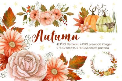 Watercolor fall season collection. Autumn, pumpkins, wreath.