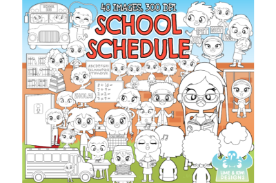 School Schedule Digital Stamps - Lime and Kiwi Designs