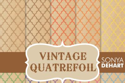 Digital Papers Vintage Quatrefoil Patterns