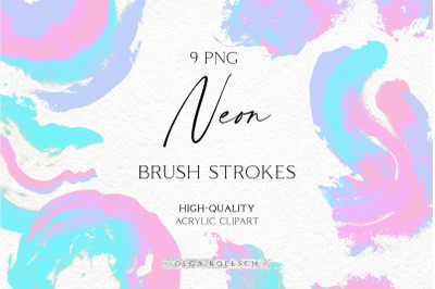 Neon abstract brush strokes, Holographic abstract texture, Neon brush