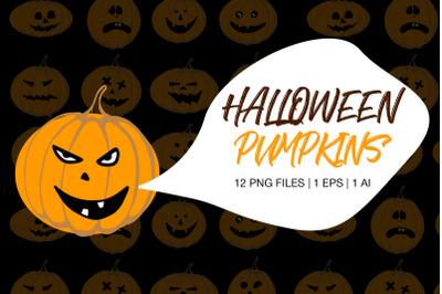 12 Pumpkin Faces Clipart - Halloween Pumkins