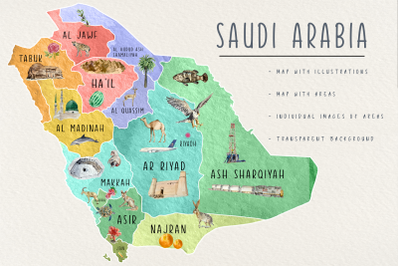 Watercolor Saudi Arabia Tourist Map