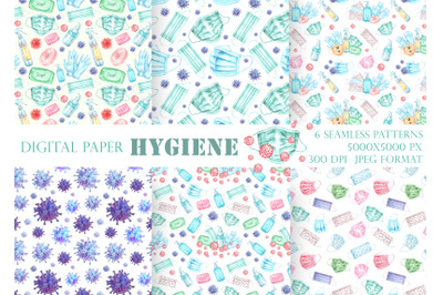Covid seamless pattern. Quarantine, health, prevention, hygiene.