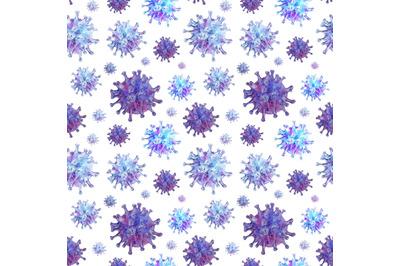 Covid watercolor seamless pattern. Pandemic. Virus. Quarantine.