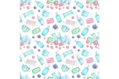Quarantine watercolor seamless pattern. Covid, pandemic, prevention