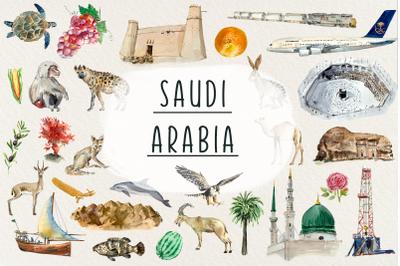 Watercolor Saudi Arabia Clip Arts