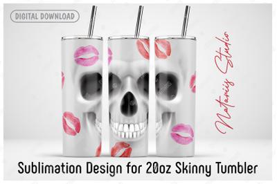 Skull sublimation design - 20oz SKINNY TUMBLER