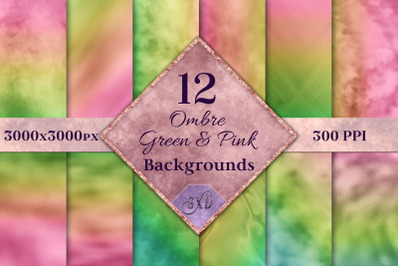 Ombre Green and Pink Backgrounds - 12 Image Set