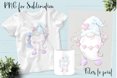 Gnomes for Valentine's Day sublimation. Design for printing.