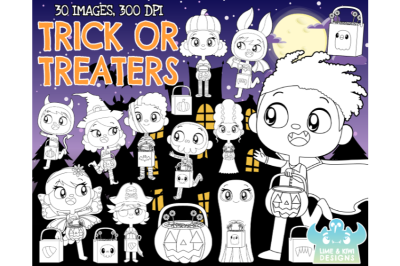 Trick or Treaters Digital Stamps - Lime and Kiwi Designs