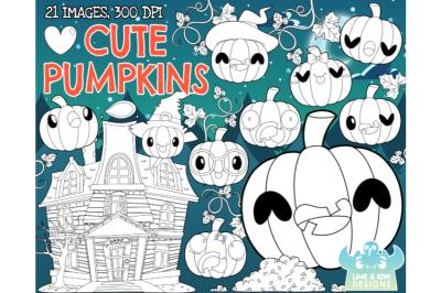 Cute Pumpkins Digital Stamps - Lime and Kiwi Designs