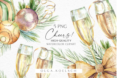 Watercolor champagne clipart, Christmas champagne glass png