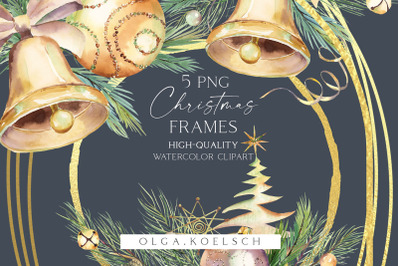 Gold christmas decor clipart Watercolor Christmas png Champagne glass,