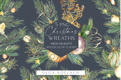 Gold Christmas wreath clipart, Watercolor Christmas frames for cards