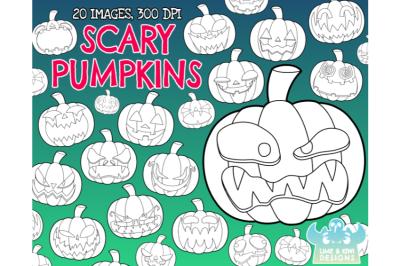 Scary Halloween Pumpkins Digital Stamps  - Lime and Kiwi Designs