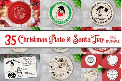 Christmas Plate & Santa tray svg bundle, Christmas Svg