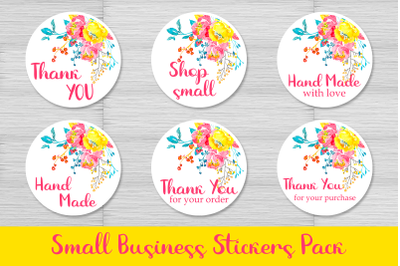 6 Small Business Stickers Pack. Png and jpg files