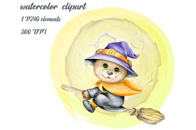 A bear cub on a broom, watercolor animals, Halloween Clipart, Cute Mon