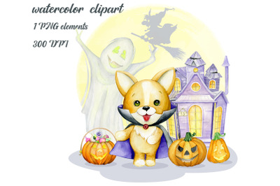 watercolor animals, Halloween Clipart, Cute Monsters, Witch, fantasy c