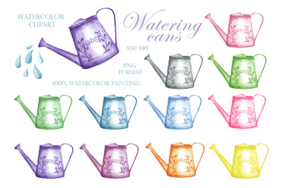 Watering can watercolor clipart. Multi-colored watering cans.
